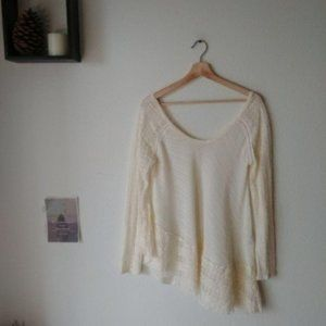Free People Cream Lace Embellished Top